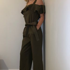 Women's Green Till Off-The-Shoulder Jumpsuit